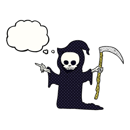 guada�a: dibujado a mano alzada pensamiento de la muerte de la burbuja de dibujos animados con la guada�a