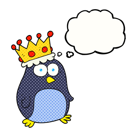 emperor: freehand drawn thought bubble cartoon emperor penguin