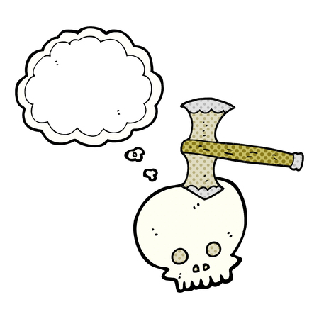 cartoon axe: freehand drawn thought bubble cartoon axe in skull