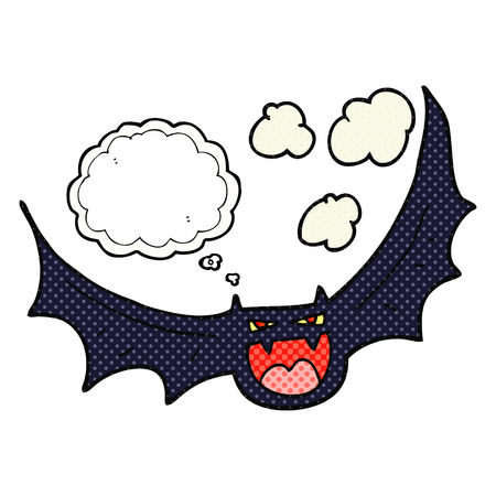 bat animal: freehand drawn thought bubble cartoon halloween bat