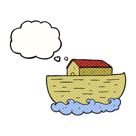 ark: freehand drawn thought bubble cartoon noahs ark