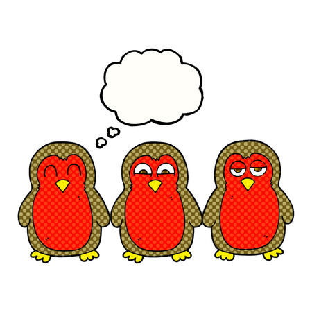 robins: freehand drawn thought bubble cartoon christmas robins holding hands