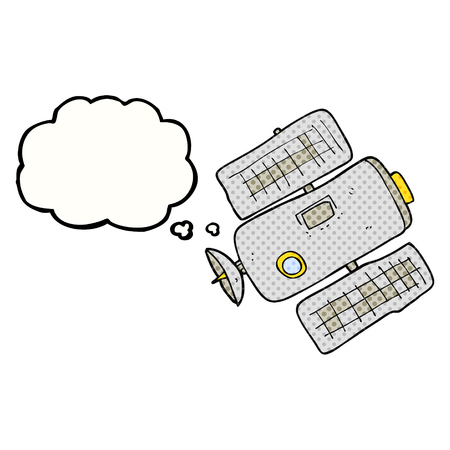 space station: freehand drawn thought bubble cartoon space station