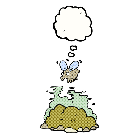 manure: freehand drawn thought bubble cartoon fly and manure Illustration