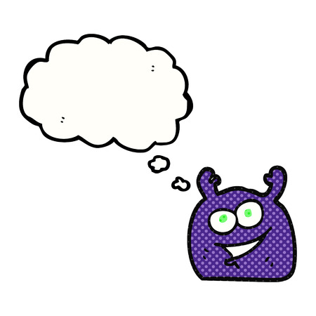 alien clipart: freehand drawn thought bubble cartoon little alien