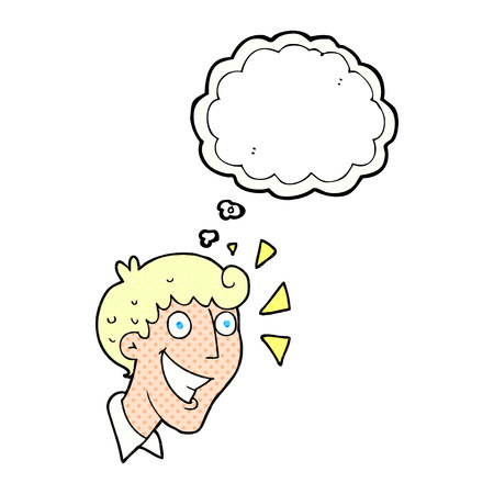 realization: freehand drawn thought bubble cartoon excited man