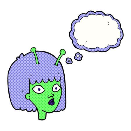 alien clipart: freehand drawn thought bubble cartoon female alien