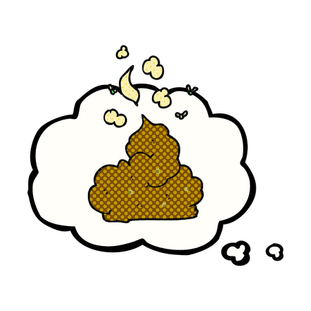 stinking: freehand drawn thought bubble cartoon gross poop