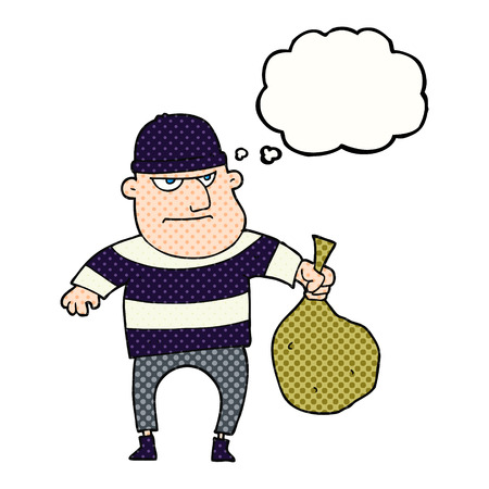 loot: freehand drawn thought bubble cartoon burglar with loot bag Illustration