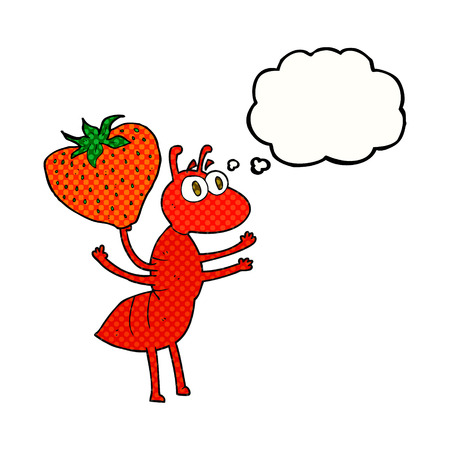 carrying: freehand drawn thought bubble cartoon ant carrying food Illustration