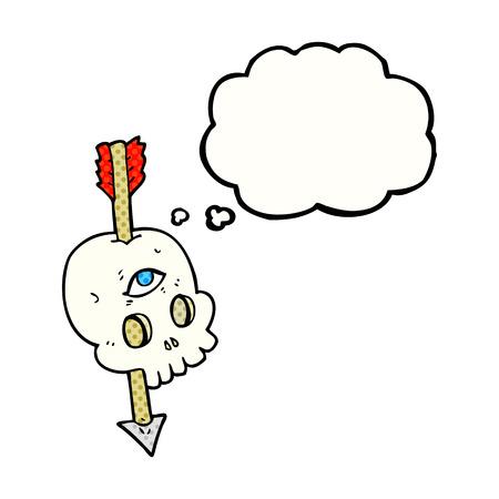 third eye: freehand drawn thought bubble cartoon magic skull with arrow through brain