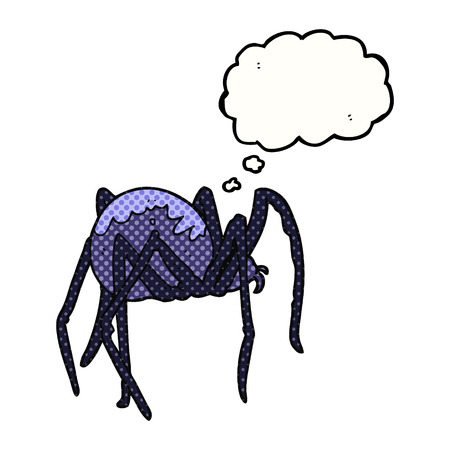 creepy: freehand drawn thought bubble cartoon creepy spider Illustration
