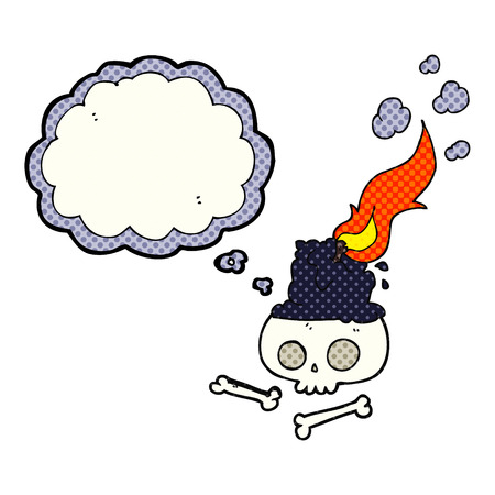 burning candle: freehand drawn thought bubble cartoon burning candle on skull