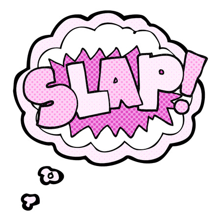 slap: freehand drawn thought bubble cartoon slap symbol Illustration