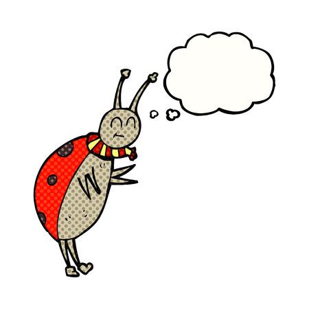 ladybug: freehand drawn thought bubble cartoon ladybug Illustration