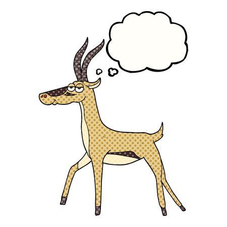 gazelle: freehand drawn thought bubble cartoon gazelle Illustration