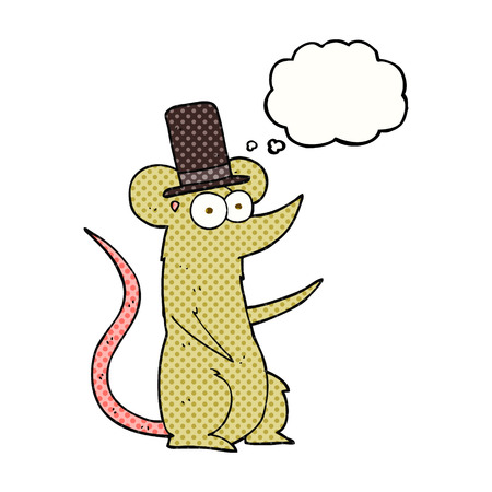 top hat cartoon: freehand drawn thought bubble cartoon mouse wearing top hat