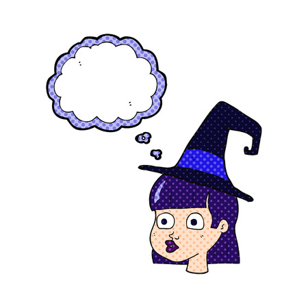 interested: freehand drawn thought bubble cartoon witch