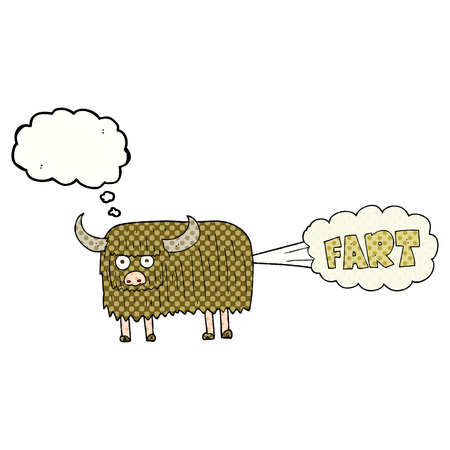 hairy: freehand drawn thought bubble cartoon hairy cow farting Illustration