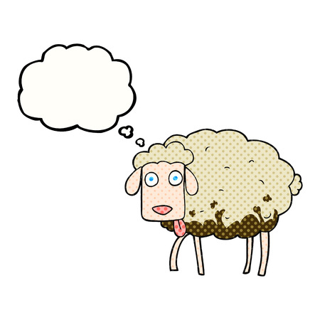 muddy: freehand drawn thought bubble cartoon muddy sheep