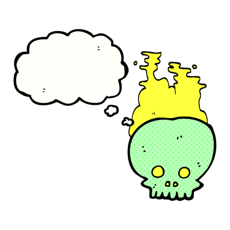steaming: freehand drawn thought bubble cartoon steaming skull Illustration