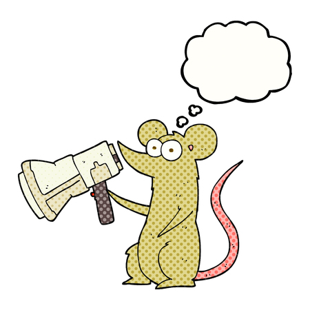 loudhailer: freehand drawn thought bubble cartoon mouse with megaphone Illustration