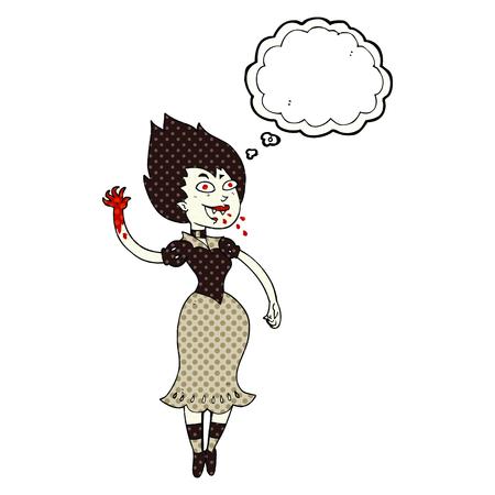sucking: freehand drawn thought bubble cartoon blood sucking vampire girl Illustration