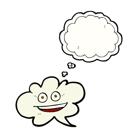 thought cloud: freehand drawn thought bubble cartoon cloud thought bubble with face Illustration