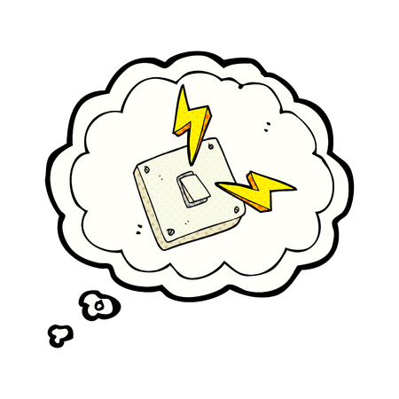 sparking: freehand drawn thought bubble cartoon sparking electric light switch