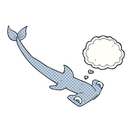 pez martillo: a mano alzada pensamiento dibujado martillo burbuja de dibujos animados de tiburón Vectores