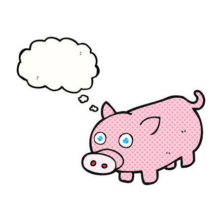piglet: freehand drawn thought bubble cartoon piglet