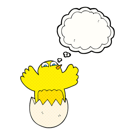 hatching: freehand drawn thought bubble cartoon hatching egg Illustration