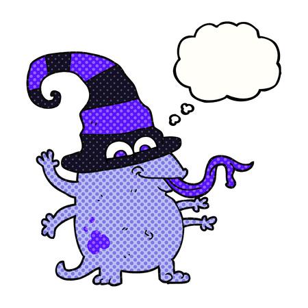 alien clipart: freehand drawn thought bubble cartoon halloween alien