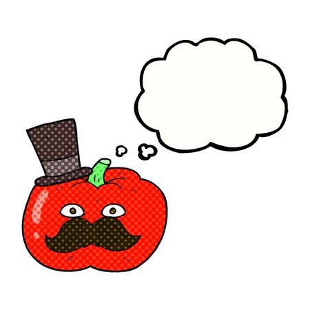posh: freehand drawn thought bubble cartoon posh tomato Illustration