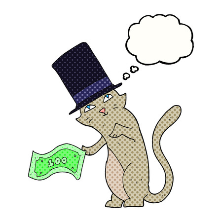 rich: freehand drawn thought bubble cartoon rich cat