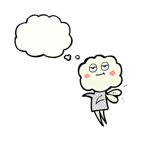 imp: freehand drawn thought bubble cartoon cute cloud head imp Illustration