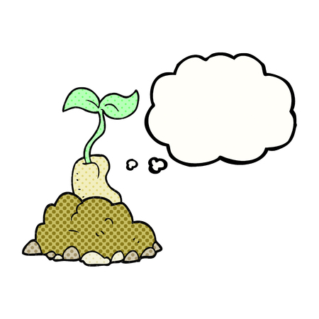 sprouting: freehand drawn thought bubble cartoon sprouting seed Illustration