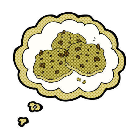 chocolate chip: freehand drawn thought bubble cartoon chocolate chip cookies Illustration