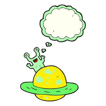 alien world: freehand drawn thought bubble cartoon alien planet Illustration