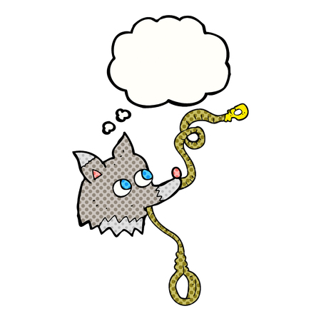 leash: freehand drawn thought bubble cartoon dog with leash