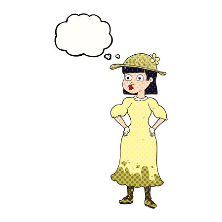 sensible: freehand drawn thought bubble cartoon woman in sensible dress Illustration