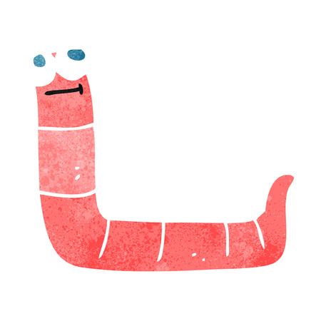 gusano caricatura: gusano de dibujos animados retro a mano alzada Vectores