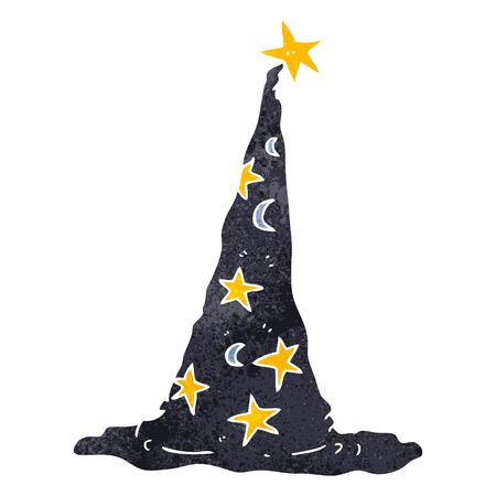 sombrero de mago: a mano alzada sombrero retro asistente de dibujos animados
