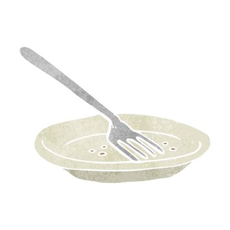 empty plate: freehand retro cartoon empty plate