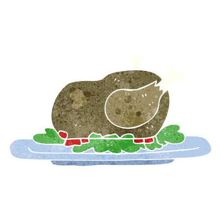 cooked: freehand retro cartoon cooked turkey Illustration