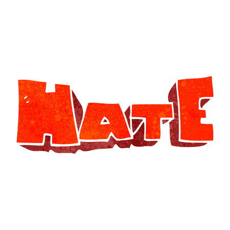 hate: freehand retro cartoon word Hate Illustration
