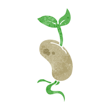 sprouting: freehand retro cartoon sprouting seed Illustration