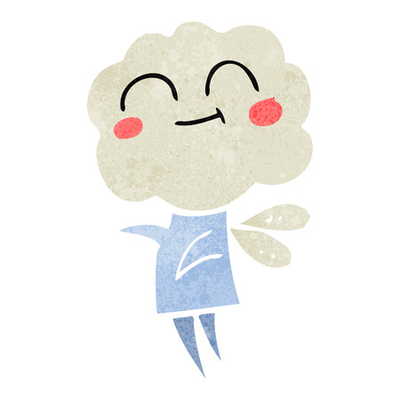 imp: freehand retro cartoon cute cloud head imp