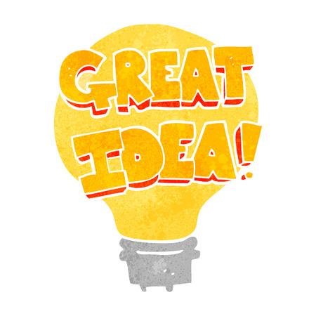 great idea: freehand retro cartoon great idea light bulb symbol