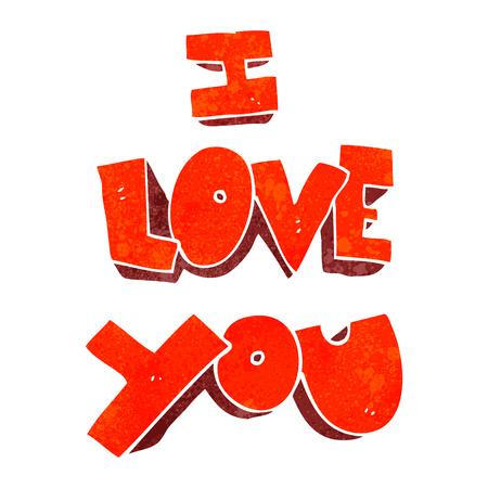 i love you symbol: I love you freehand retro cartoon symbol
